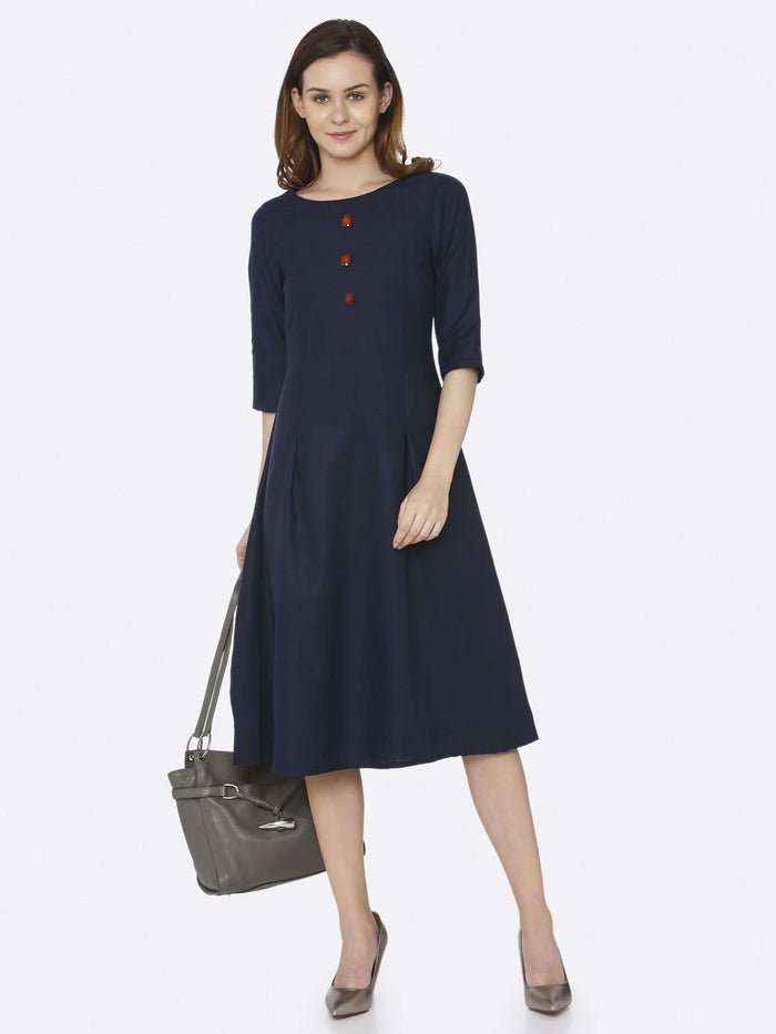 Party Wear Navy Blue Plain Cotton Slub Dress