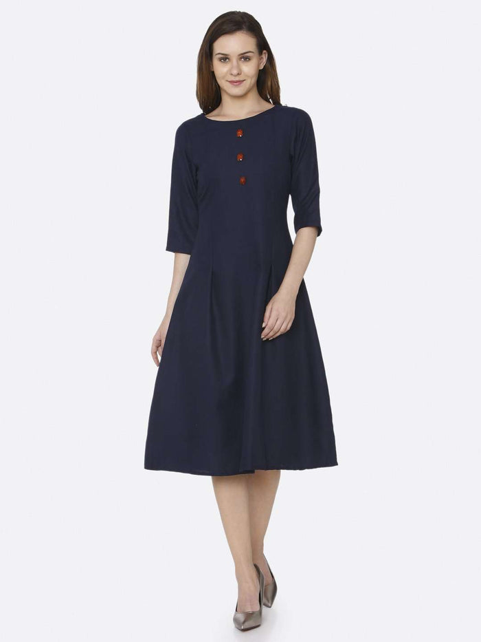 Front Side Plain Cotton Slub Dress With Navy Blue Color