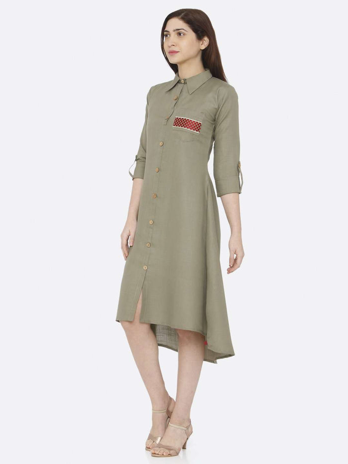 Left Side Plain Cotton Slub Dress With Grey Color