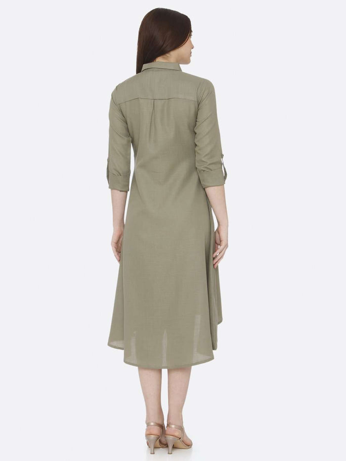 Back Side Grey Plain Cotton Slub Dress