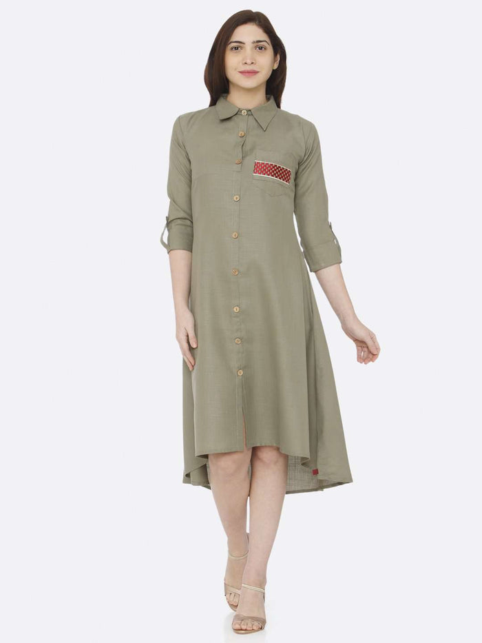 Front Side Plain Cotton Slub Dress With Grey Color