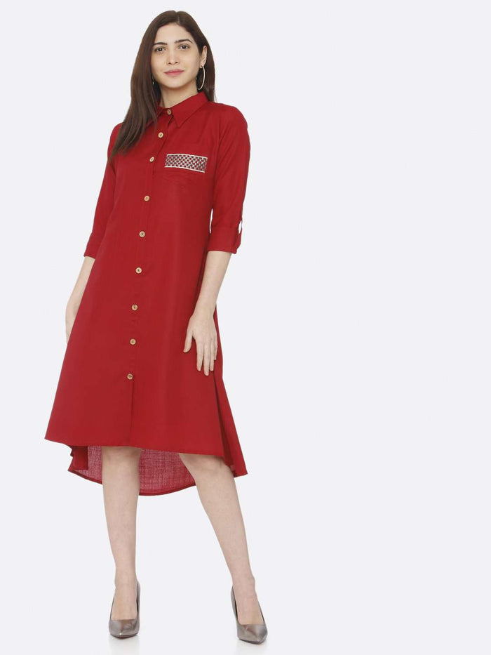 Red Plain Cotton Slub Dress