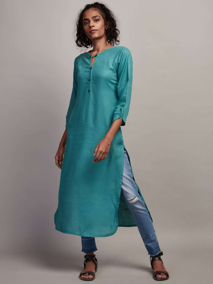 Front Side Teal Plain Rayon Slub Kurti With Denim Pant