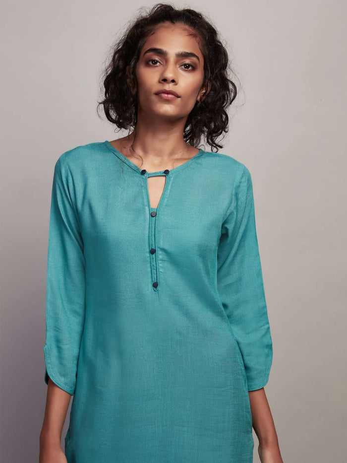 Front Side Plain Rayon Slub Kurti With Teal Color