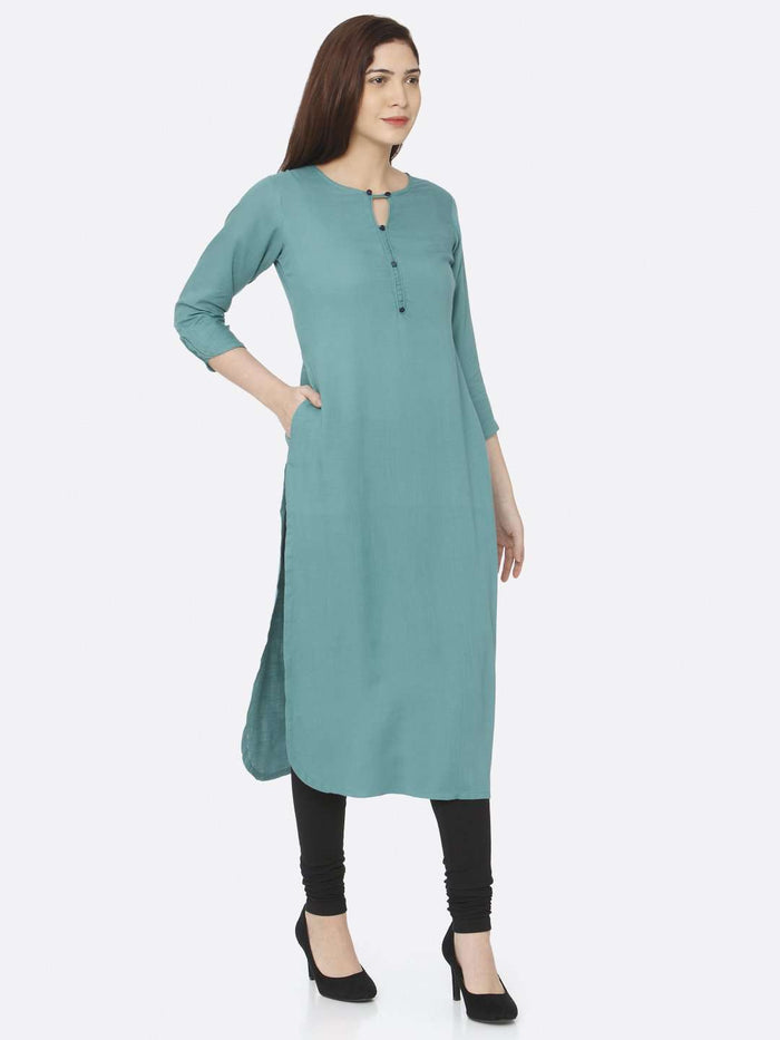 Right Side Teal Plain Rayon Slub Kurti With Black Palazzo Pant