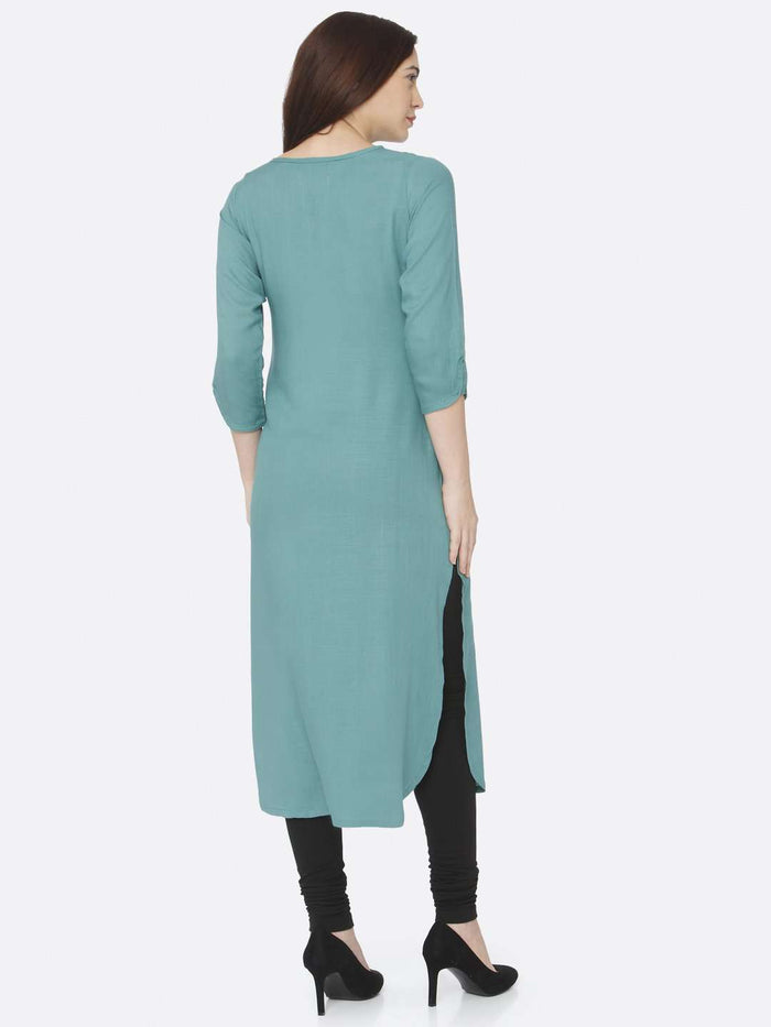 Back Side Teal Plain Rayon Slub Kurti With Black Palazzo Pant