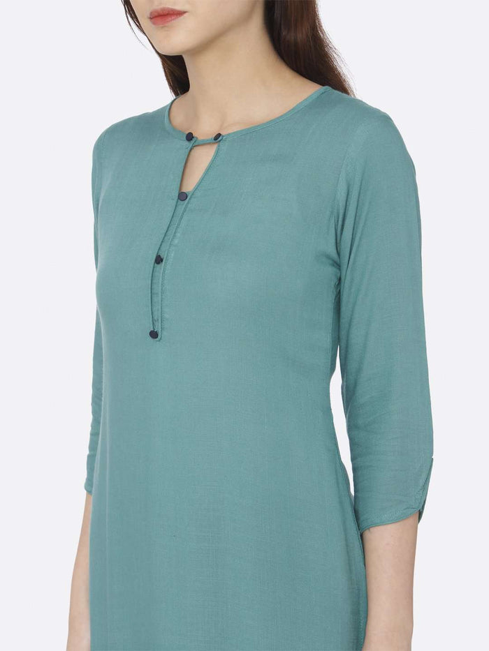 Left Side Teal Plain Rayon Slub Kurti
