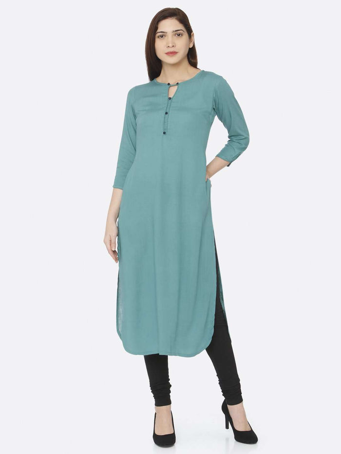 Front Side Casual Teal Plain Rayon Slub Kurti With Black Pant
