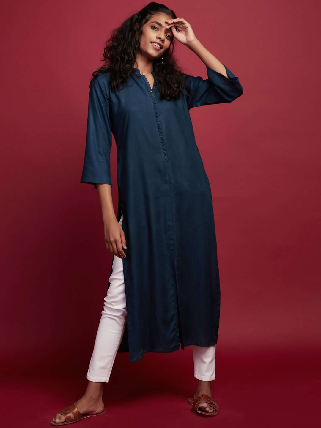 Front Side Blue Plain Rayon Slub Kurti With White Palazzo Pant