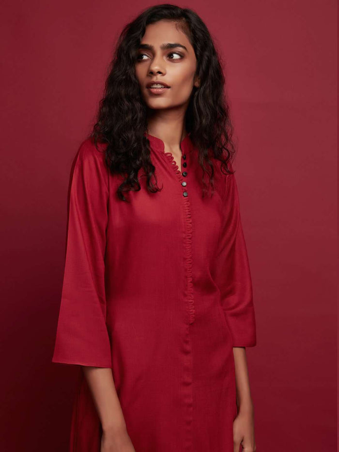 Front Side Plain Rayon Slub Kurti With Red Color