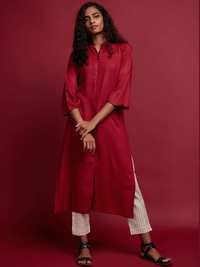 Front Side Red Plain Rayon Slub Kurti With Cream Palazzo Pant