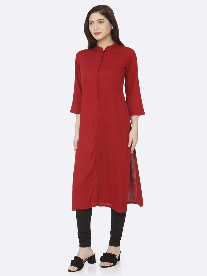 Front Side Red Plain Rayon Slub Kurti