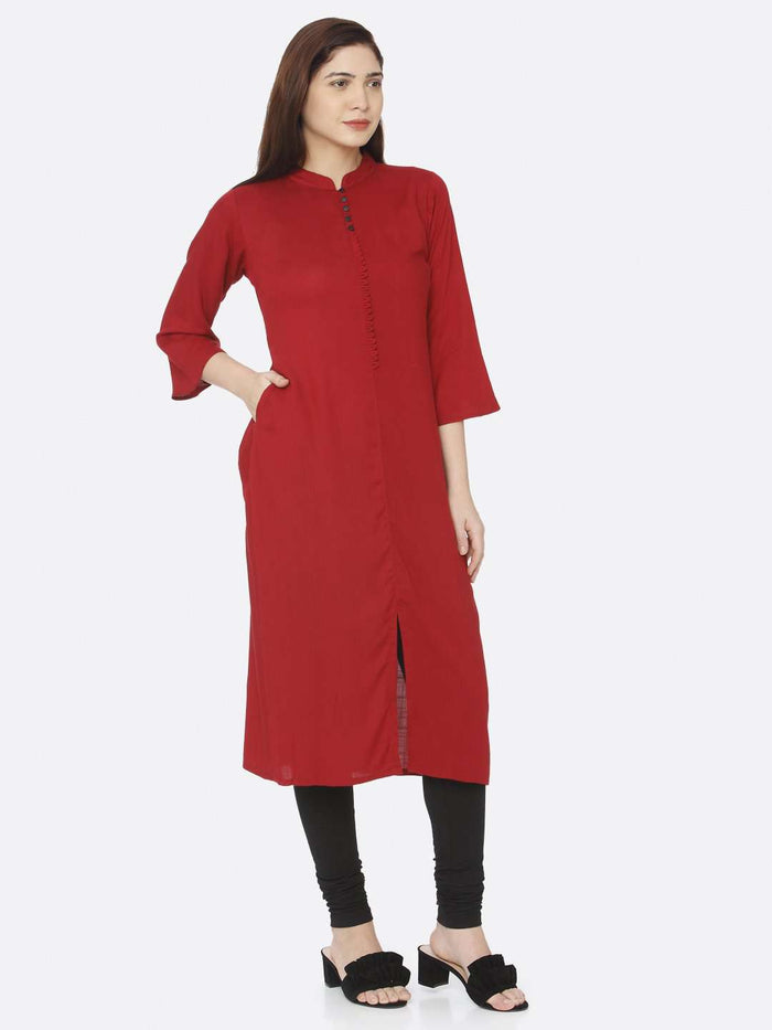 Right Side Red Plain Rayon Slub Kurti With Black Palazzo Pant