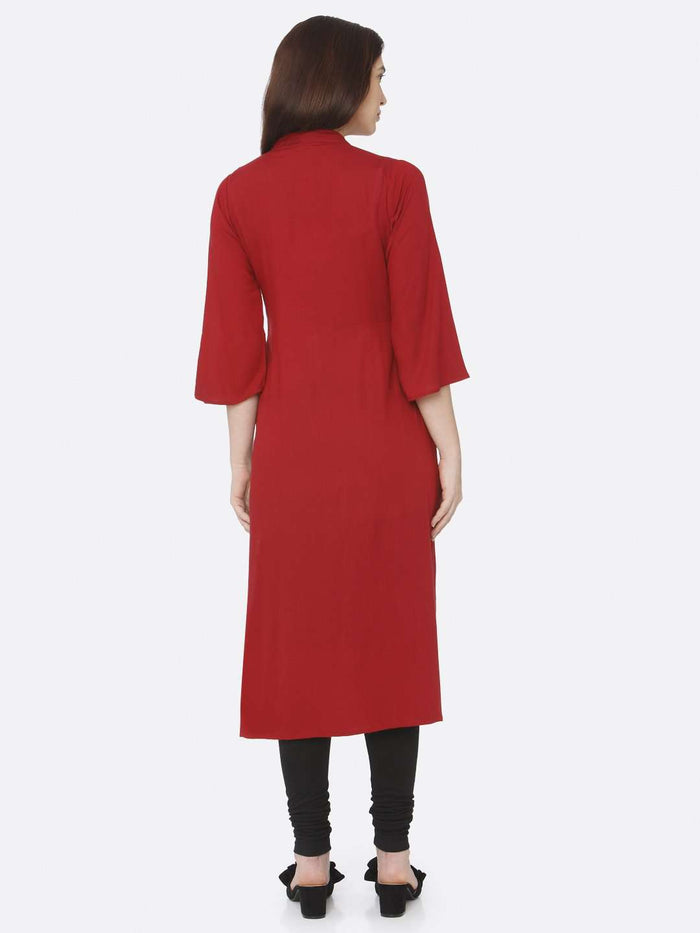 Back Side Red Plain Rayon Slub Kurti With Black Palazzo Pant