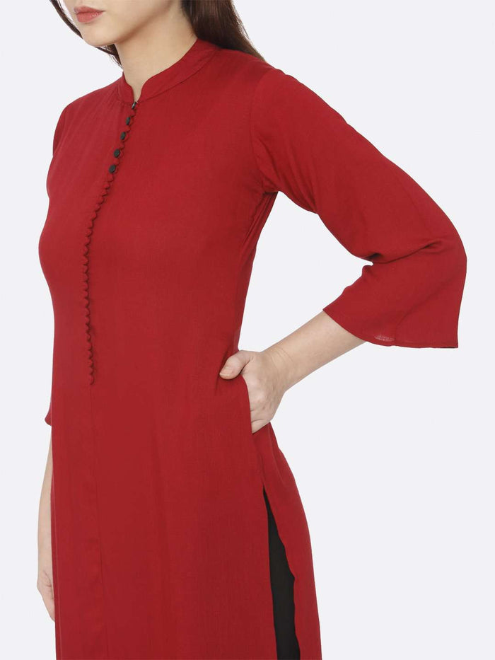 Left Side Plain Rayon Slub Kurti With Red Color