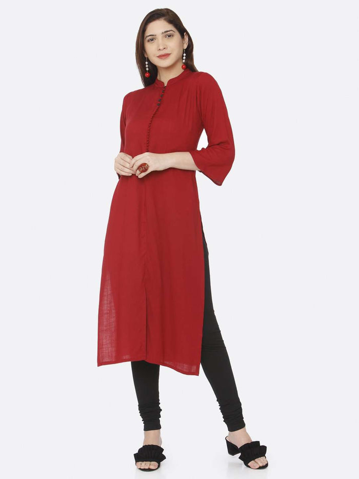 Front Side Casual Red Plain Rayon Slub Kurti