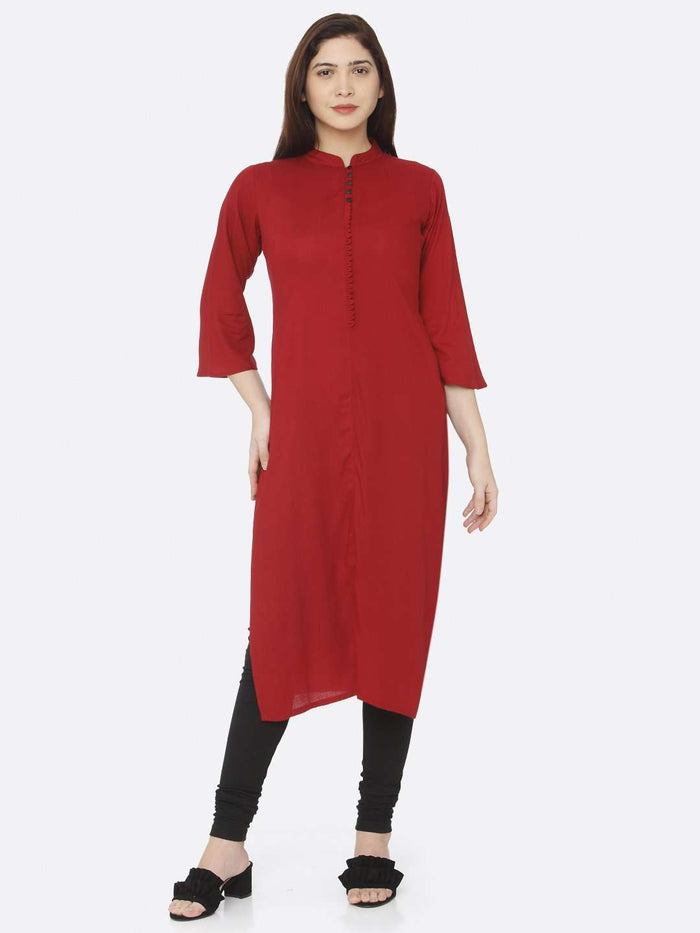 Front Side Red Plain Rayon Slub Kurti With Black Palazzo Pant
