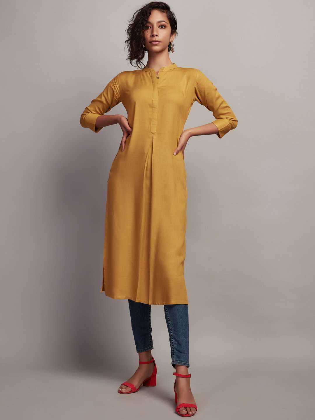Full Front Side Mustard Plain Rayon Slub Kurti With Denim Blue Pant
