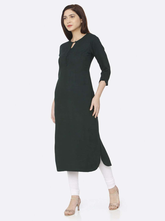 Left Side Green Plain Rayon Slub Kurti With White Palazzo Pant