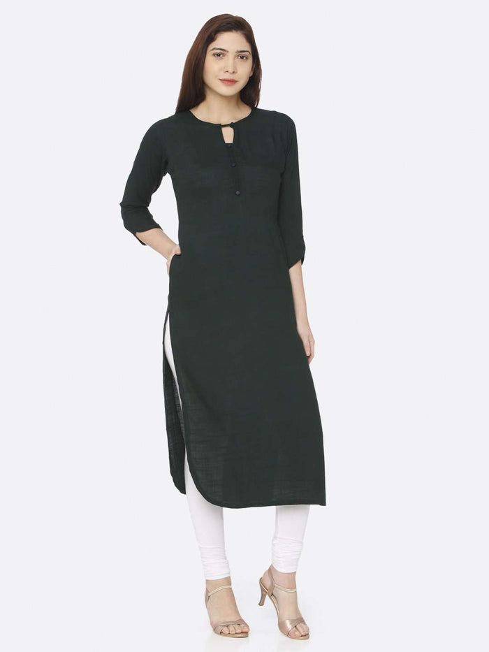 Front Side Plain Rayon Slub Kurti Wuth Green Color