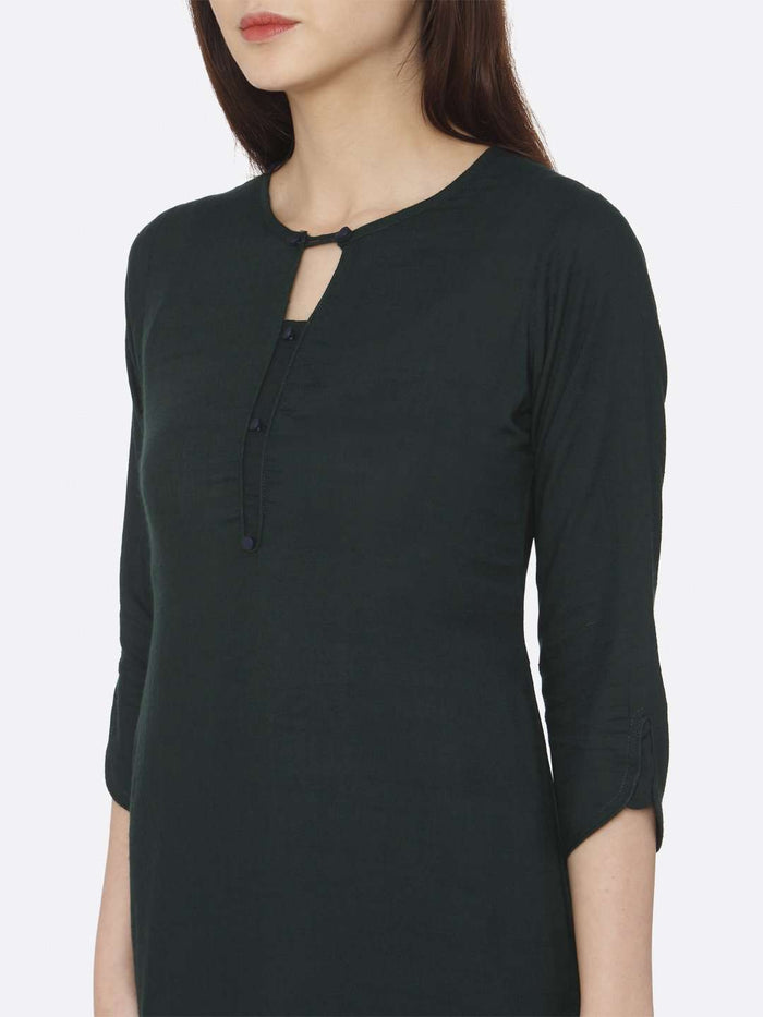 Front Side Green Plain Rayon Slub Kurti