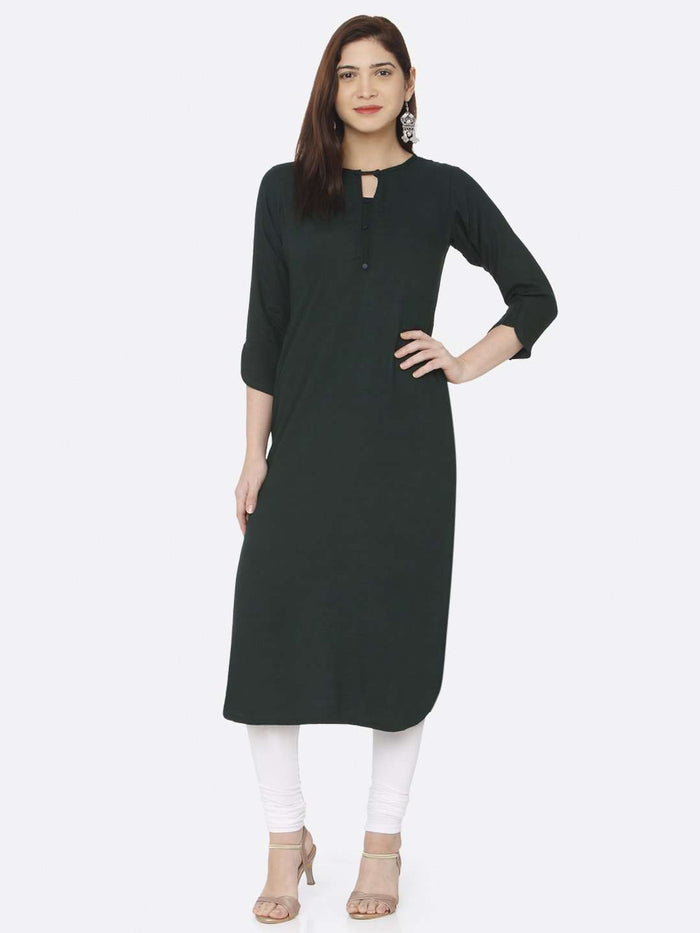 Front Side Casual Green Plain Rayon Slub Kurti With White Palazzo Pant