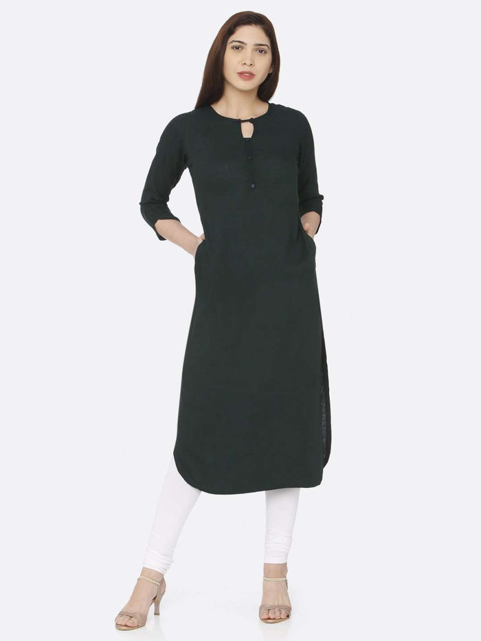 Front Side Green Plain Rayon Slub Kurti With White Palazzo Pant