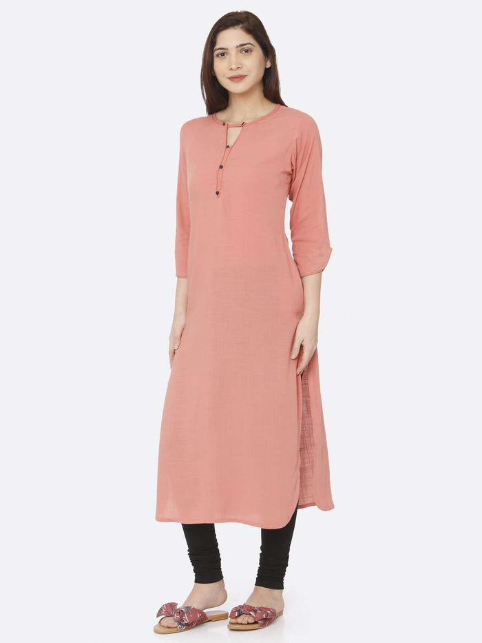 Left Side Peach Plain Rayon Slub Kurti With Black Palazzo Pant