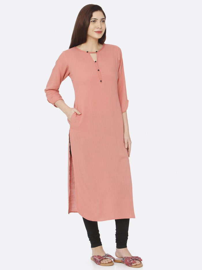 Right Side Peach Plain Rayon Slub Kurti With Black Palazzo Pant
