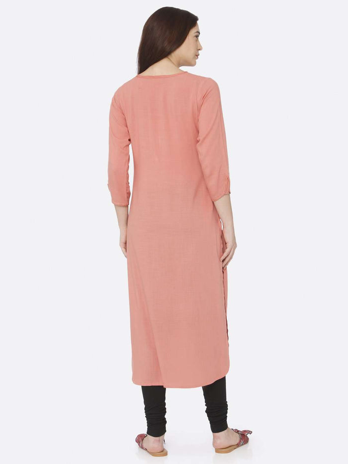 Back Side Peach Plain Rayon Slub Kurti With Black Palazzo Pant