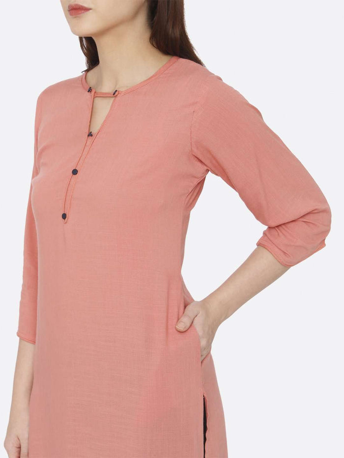 Left Side Peach Plain Rayon Slub Kurti
