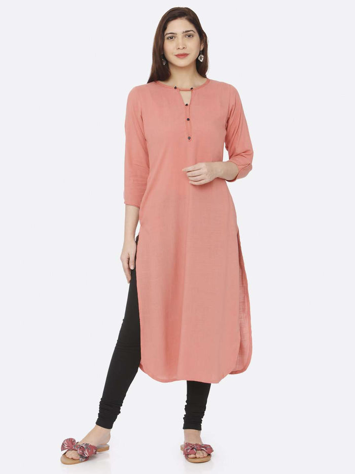 Front Side Casual Peach Plain Rayon Slub Kurti With Black Palazzo Pant