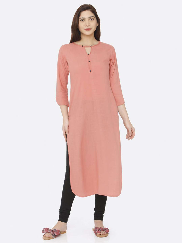 Front Side Peach Plain Rayon Slub Kurti With Black Palazzo Pant