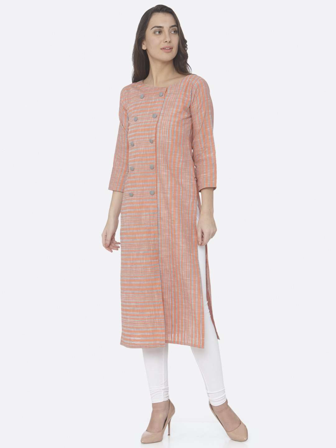 Front Side Peach Printed Handloom Cotton Straight Kurti With White Palazzo Pant