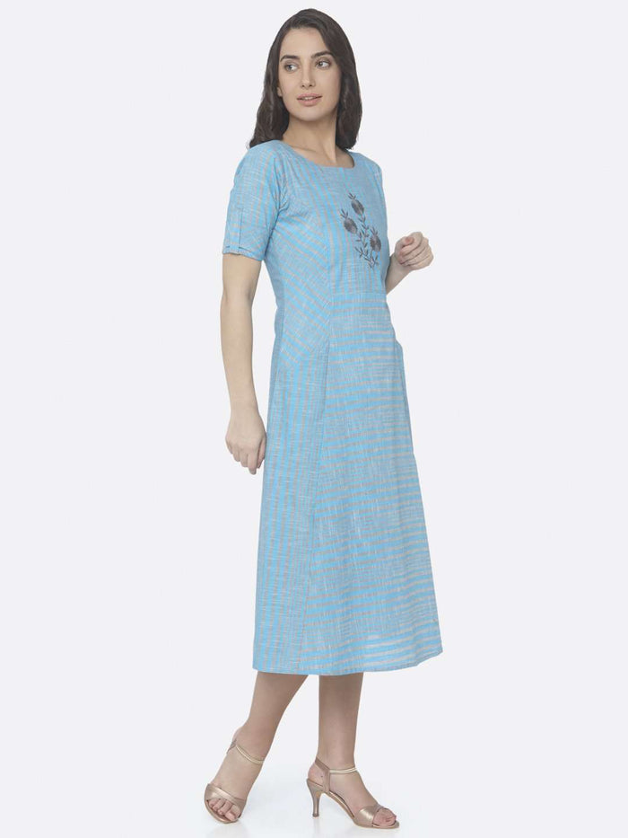 Right Side Sky Blue Embroidered Handloom Cotton A-Line Dress
