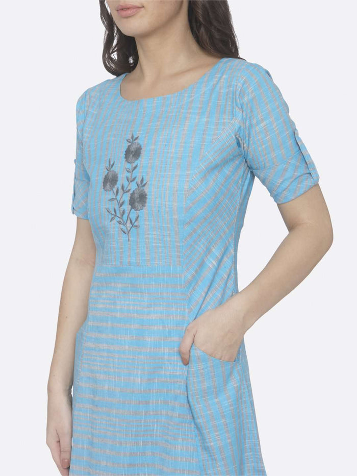 Left Side Embroidered Hnadloom Cotton A-Line Dress With Sky Blue Color
