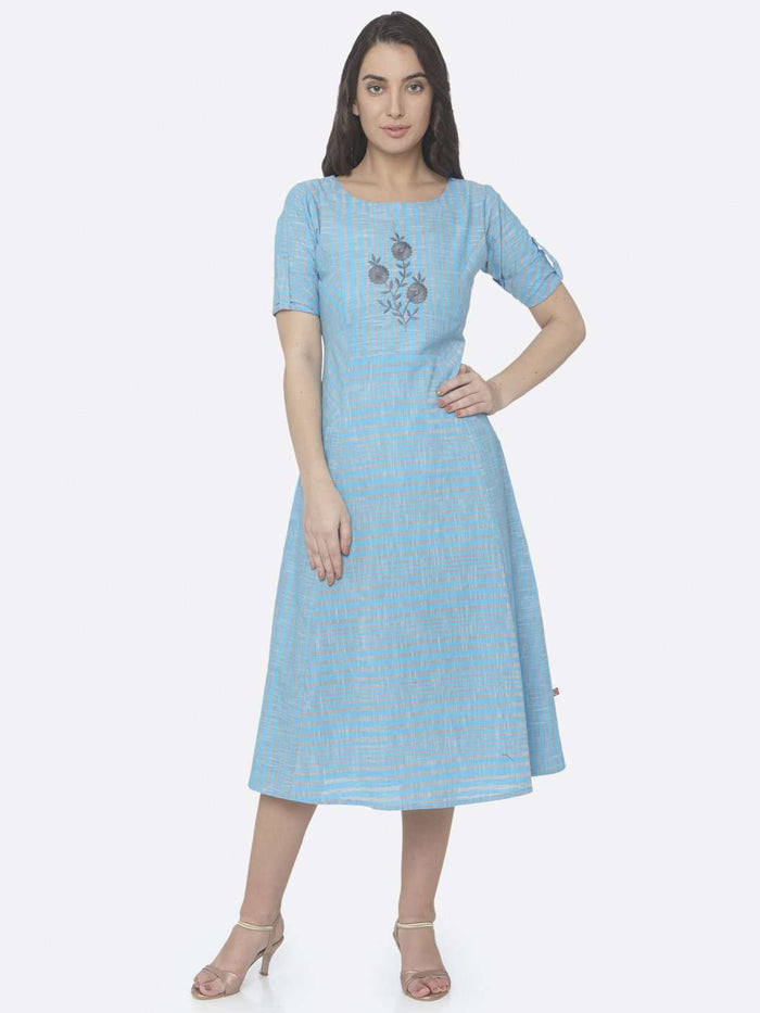 Front Side Sky Blue Embroidered Handloom Cotton A-Line Dress