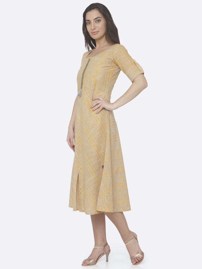 Left Side Yellow Printed Handloom Cotton A-Line Dress
