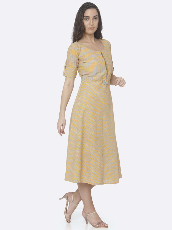 Right Side Yellow Printed Handloom Cotton A-Line Dress