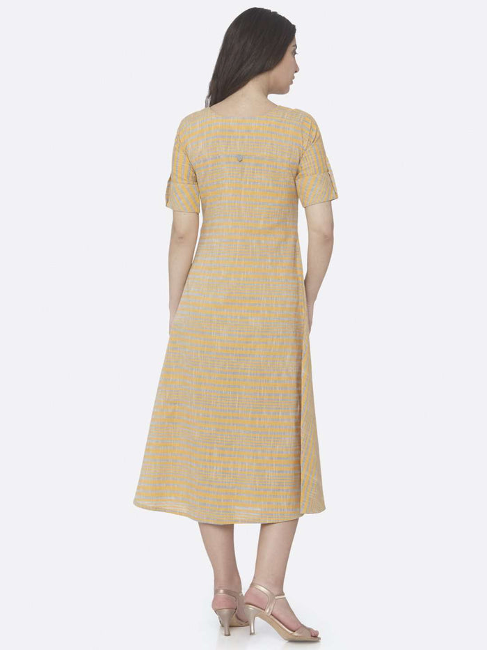 Back Side Yellow Printed Handloom Cotton A-Line Dress