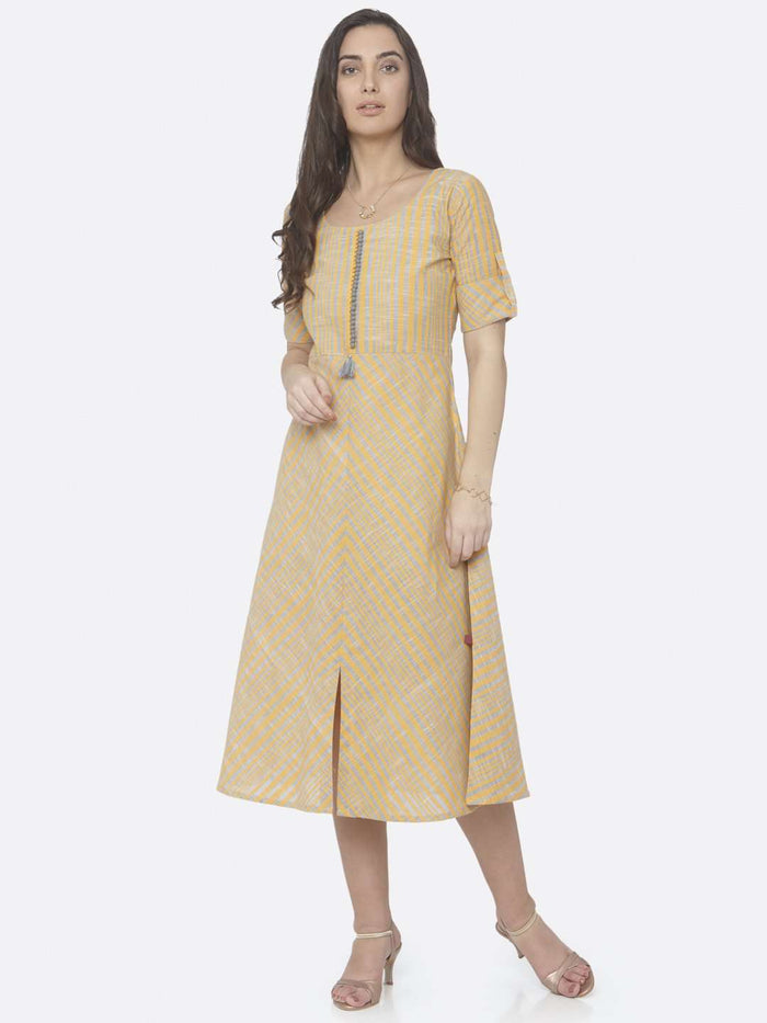 Front Side Yellow Printed Handloom Cotton A-Line Dress