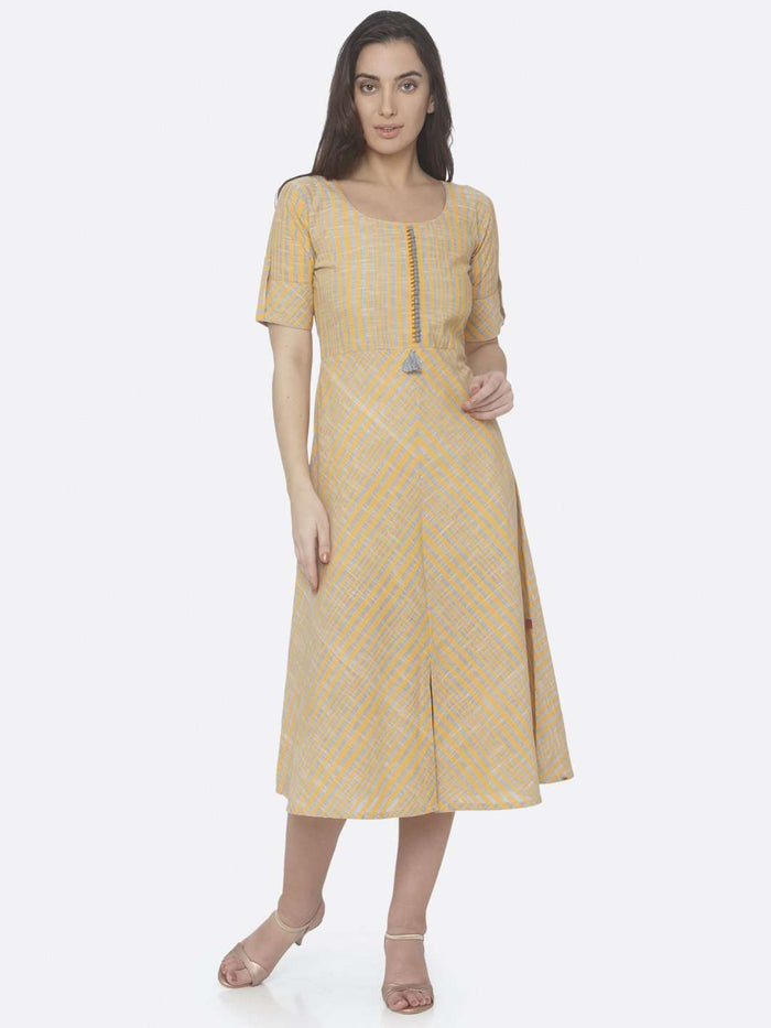 Casual Yellow Printed Handloom Cotton A-Line Dress