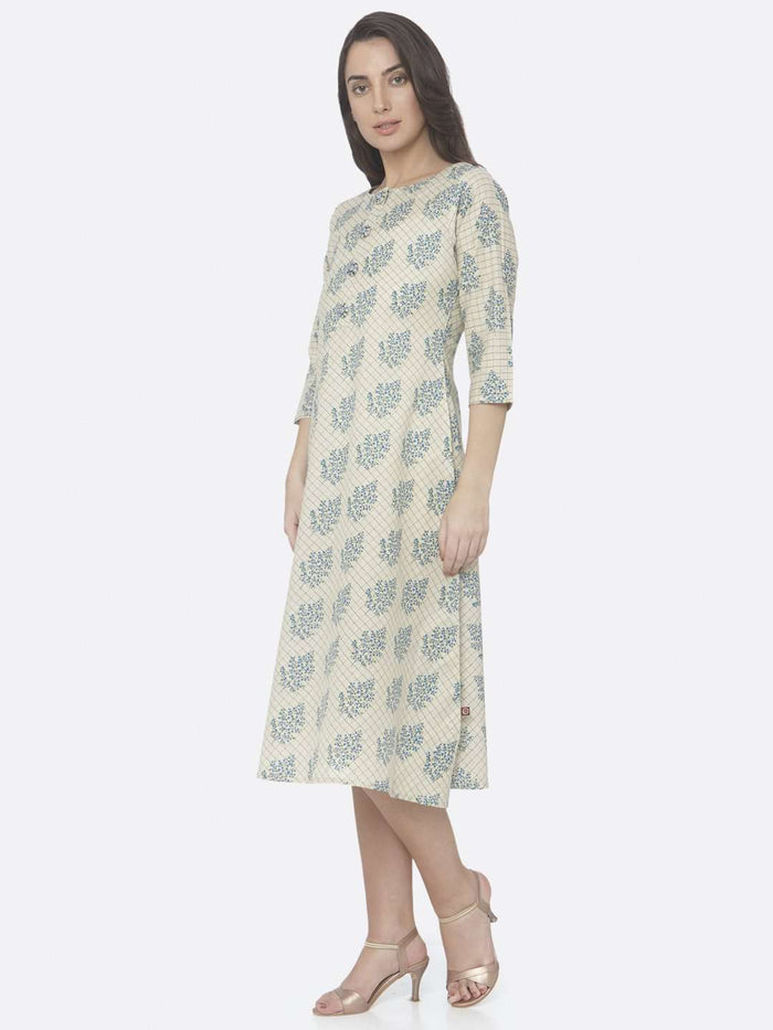 Left Side Beige Printed Handloom Cotton A-Line Dress