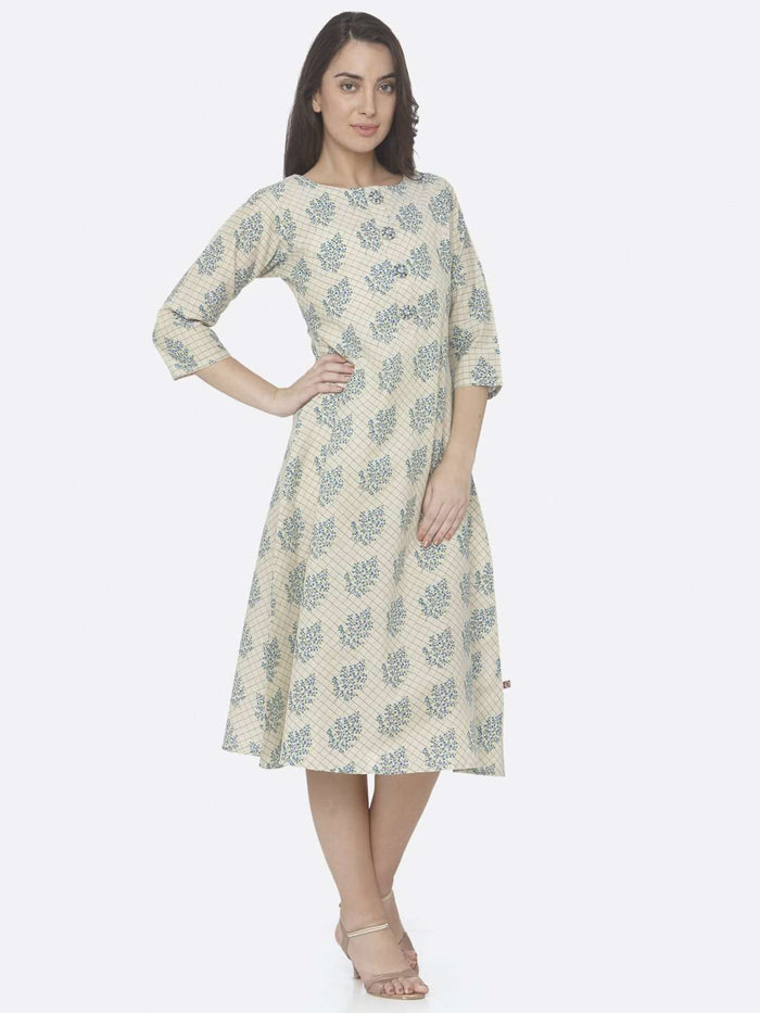 Right Side Beige Printed Handloom Cotton A-Line Dress