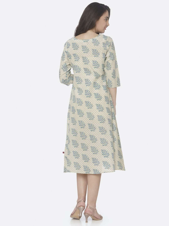Back Side Beige Printed Handloom Cotton A-Line Dress