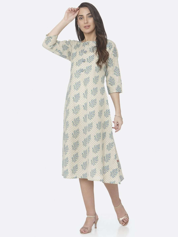 Casual Printed Handloom Cotton A-Line Dress With Beige Color