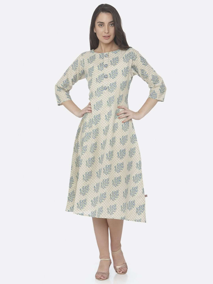 Front Side Beige Printed Handloom Cotton A-Line Dress