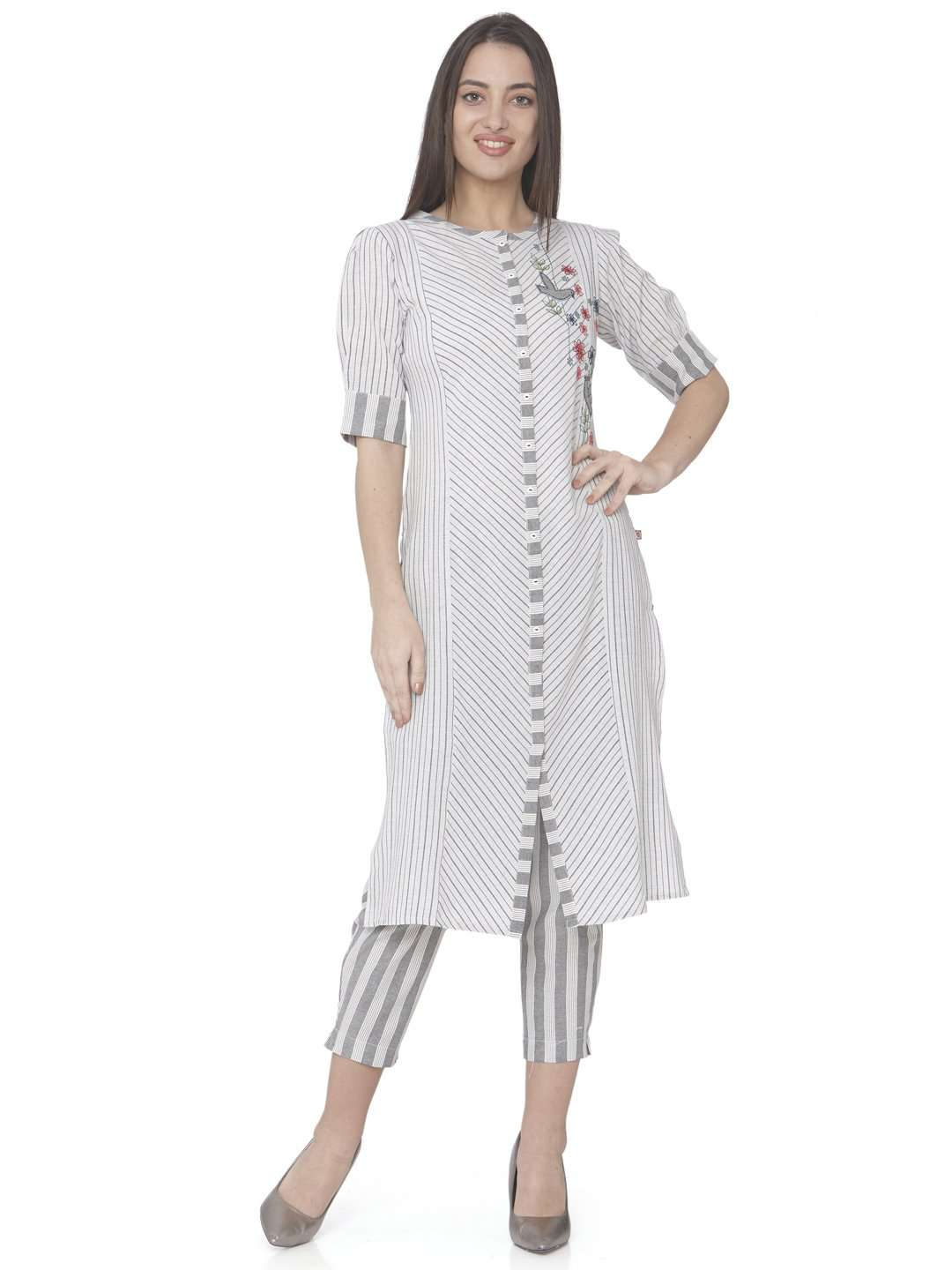 Front Side White Embroidered Cotton Straight Kurti With Pant With White Palazzo Pant