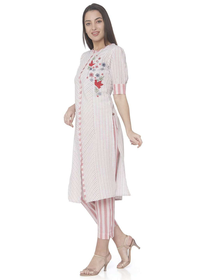 Left Side White Embroidered Cotton Straight Kurti With Pant