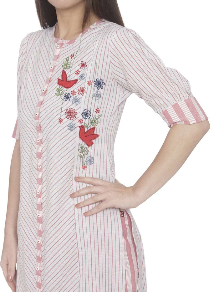 Left Side Embroidered Cotton Straight Kurti With White Color